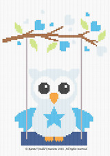 Crochet Patterns - OWL ON A SWING - Baby Boy Graph/Chart Afghan Pattern
