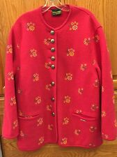 GEIGER of Austria  Embroidered Cardigan Sweater Jacket Boiled Wool 42 -XL UNIQUE