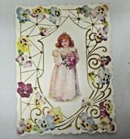 Vintage 1900's Die Cut Valentine Greeting Card Floral Embossed Cherub Angel