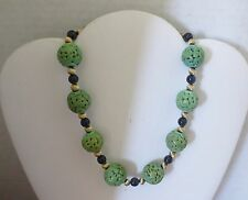 Vintage Chinese Hand Carved Green Turquoise Beads Necklace -16""