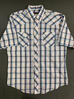 Men's Roper Pearl Snap Western Shirt Size XL Blue White Short Sleeve