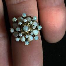 Antique 18k yellow gold 25 opal harem ballerina ring , sz 6.25, filigree 4 g