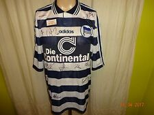 "Hertha BSC Berlin Adidas Maillot 1997/98 ""les Continentale"" + signé Taille XL NEUF"