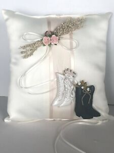 Victorian Boots Ivory Ring Pillow With Pink Roses and Horseshoe Charm