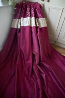 BURGUNDY SCARLET GOLD FAUX SILK EMBROIDERED CURTAINS,46WX63D,EYELET,LINED,1OF2