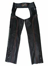HARLEY DAVIDSON Mens Size S Black Leather Motorcycle Riding Chaps