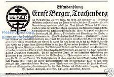 Eisenhandlung Berger Trachenberg Reklame von 1927 Schlesien Zmigrod Werbung ad