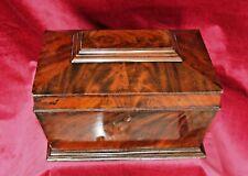 Antique Victorian Large Flame Mahogany Sarcophagus Casket Box
