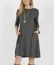 T-Shirt Dress Size 8 Ladies Womens Charcoal Grey With Pockets