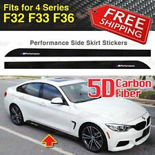 M Performance Side Skirt 5D CARBON FIBER Decal Stickers for BMW F32 F33 4 Series