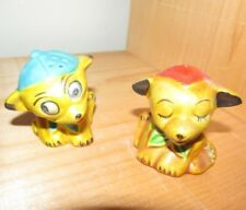 Vintage ugly cute Yellow Dog Salt and Pepper Shakers~Japan 1950's