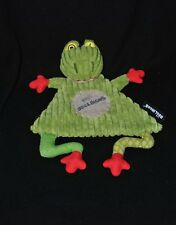Peluche doudou grenouille plat Croakos LES DEGLINGOS vert rouge yeux jaune NEUF
