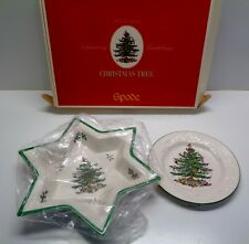 """NEW SPODE CHRISTMAS TREE LARGE STAR SHAPED CANDY DISH & EMBOSSED 8 7/8"""" PLATE"""