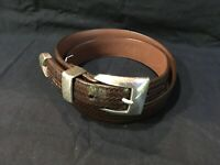 Onyx by Brighton Men's Brown Glove Leather Woven Belt Silver Tone Buckle Size 32