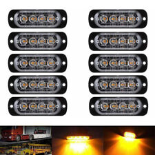 10x Amber 4 LED Car Truck Emergency Beacon Warning Hazard Flash Strobe Light RS