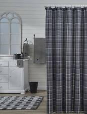 BEAUMONT PLAID Shower Curtain Blue Gray/Black Farmhouse Country Park Designs