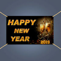 Happy New Year Eve Champagne Party Celebration Festival Decor Banner Sign