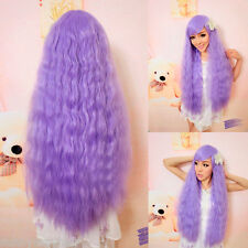 "Halloween Cosplay Party 26"" Lolita Long Curly Wavy Full Wigs Purple Hair Women"