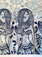 BLUE MERMAIDS PAISLEY PEVA SHOWER CURTAIN BY SPLASH WITH METAL GROMMETS