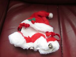 SOFT PLUSH CAT'S CHRISTMAS THEMED SANTA HAT & COLLAR WITH JINGLE BELLS ATTACHED