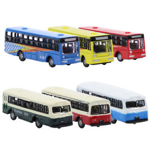 6pcs N Scale Diecast Model Buses Mini Bus 1:160 Train Layout  Free Wheels