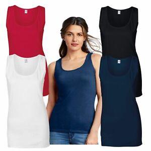 Gildan Ladies SoftStyle Tank Top T Sleeveless Vest 100% Cotton Pre-shrunk Tshirt