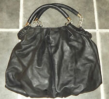 NEXT BLACK FAUX LEATHER PLEATED HANDBAG SILVER METAL CHAIN DETAIL HANDLES