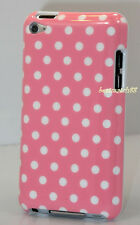 FOR IPOD TOUCH 4TH 4 TH 4 GEN ITOUCH PINK & WHITE POLKA DOT HARD BACK CASE CUTE