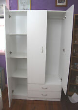 Budget White 1050mm Wide Utility 3 Door / 2 Drawer Wardrobe - BRAND NEW
