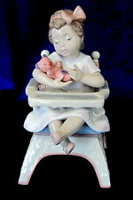 LLADRO #6299 LITTLE BEAR BNIB LITTLE GIRL TEDDY HIGHCHAIR $160 OFF FREE SHIPPING