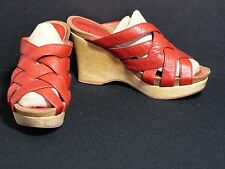 BIVIEL Red Strappy Weaved Leather Wedge Sandal Shoe Womens 5.5 / 36 EUC FS
