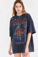Def Leppard Pyromania Oversized Tee Holes T-Shirt Dress Band Wash Women's NWT OS