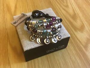"NWT Uno de 50 Silver-plated Beads/Murano Crystals Bracelet ""Nacaroni 2"""