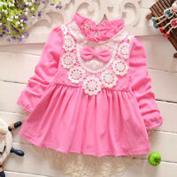 Toddler Baby Girls Long Sleeves Clothes Dress Infant Girl Skirts Party Dresses