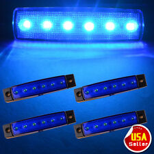 4X New 6LED  Bus Van Truck Trailer Side Marker Indicators Lights BLUE 12V