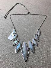 Kendra Scott Berniece Adjustable Necklace Iridescent Agate Silver Rhodium $150