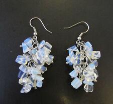 Faux Opal Stone Drop Earrings Silver Hook Chandelier Vintage Style Bridal 1093