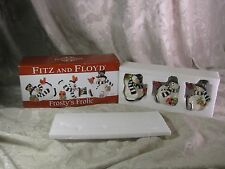 2010 Fitz Floyd Ceramic Frosty's Frolic Snowman Tumblers Set Mib