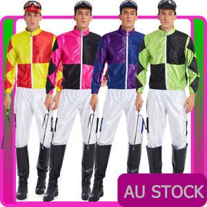 Mens Jockey Horse Costume Racing Rider Fancy Dress Sports Melbourne Cup Uniform