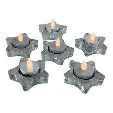 Set of 6 Glass Star LED Tea-light Holders – Silver – Candle – Christmas