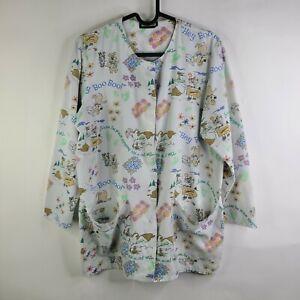 Vtg 90s Cartoon Network Boo Boo Yogi Bear 3/4 Sleeve Button Front Scrub Top