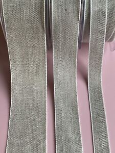 100% Linen French Ribbon Trim 16mm, 25mm, 40mm  - Sold by the metre