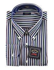 New PAUL & SHARK Blue Green Striped Cotton Dress Shirt 18.5 2XL XL 46 NWT $375!