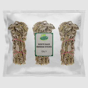 Dried Wild White Sage Smudge Incense Stick (Qty : 3) - Free UK Delivery