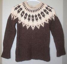 Women's Abercrombie & Fitch Brown Beige Fair Isle Wool Cashmere Sweater Sz S EUC