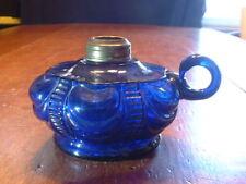 Scarce Antique Victorian EAPG Cobalt Finger Oil Lamp in Coolidge Drape Pattern