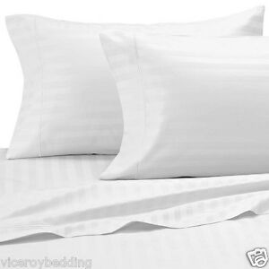Egyptian Cotton 500 Thread Count CLASSIC STRIPE King Bed Size Duvet Cover White