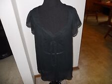 Womens Clothing Black Sheer Top Size Large Clothes Clothing Ladies See Through