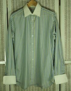AQUASCUTUM Men's Dress Shirt 15.5/39 M Blue Yellow Stripe Cotton Double Cuffs