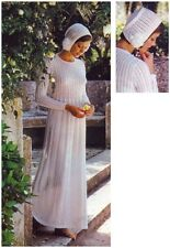 Ladies' 4 Ply Wedding Dress and Flower-trimmed Bonnet Vintage Knitting Pattern